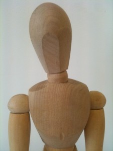 Close-up of a wooden artist's mannequin