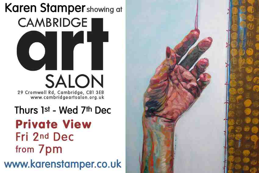 A flier with dates (1st-7th December) for Karen Stamper's exhibition