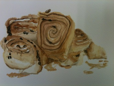 A pile of chelsea buns