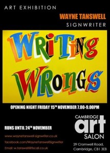 Writing Wrongs: signwriting exhibition